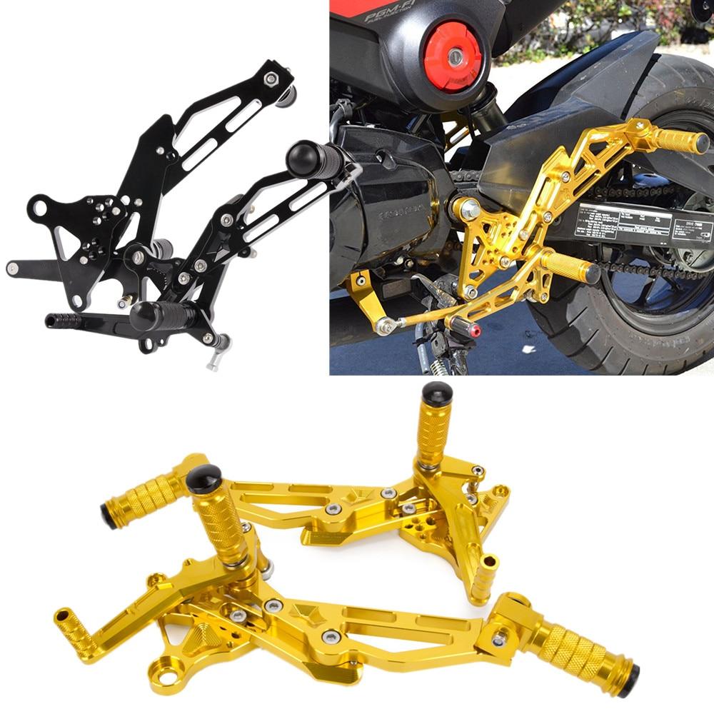 Accessoires moto repose-pieds CNC repose-pieds réglables montage pour siège arrière repose-pieds pour Honda GROM MSX125 EN 2013 2014 2015 or noir