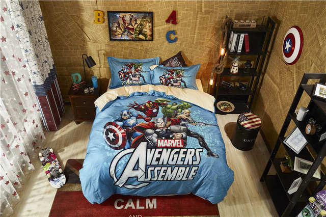 marvel The avengers comforter cover sets boy cartoon home textile egyptian cotton bedding set twin size 3D disney bed linen teen