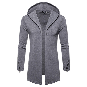 Image 4 - Plus size Men casual Hoodies Sweatshirts  Hooded Trench Coat autumn Fashion Long slim Fit Trench Coat Men Overcoat