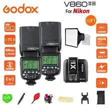 Paypal Accpect, 2*V860II-N Godox Flash Speedlite GN60 i-TTL HSS 1/8000s Speedlite Flash + X1T-N  trigger for Nikon cameras цена и фото