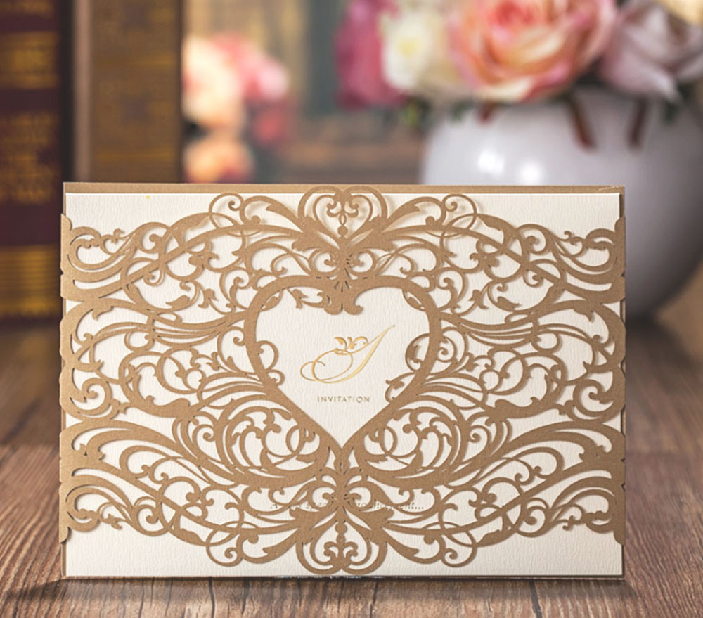 Gold Wedding Invitations Laser Cut Heart Hollow Card For Favors With Envelope And Seals Stock In Usa Cw5018