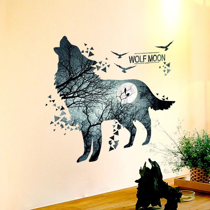 [SHIJUEHEZI Wolf pegatinas de pared de Material de PVC Auto adhesivo DIY Animal salvaje pared arte para habitaciones de niños, dormitorio de bebé decoración