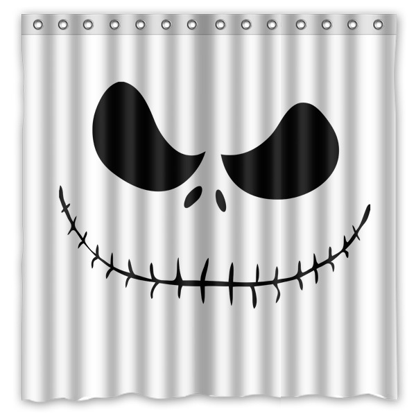 Bathroom Products Polyester Fabric Jack Skellington Printed Shower Curtains WaterproofWashable Bath 72x72