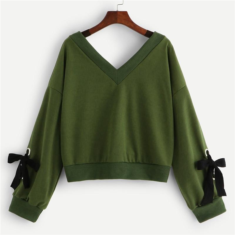 Army Green V-Neckline Knot Sleeve Ring Sweatshirt For Women