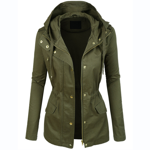 Womens Military Anorak Jacket With Hood Lightweight Women Jacket ...