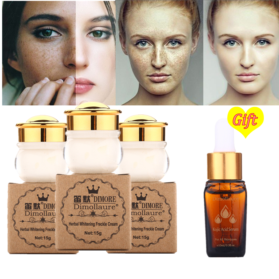 Beli 3 Mendapatkan 1 Hadiah Dimollaure whitening Bintik krim wajah Menghilangkan bekas luka Jerawat melasma pigmen Melanin ...
