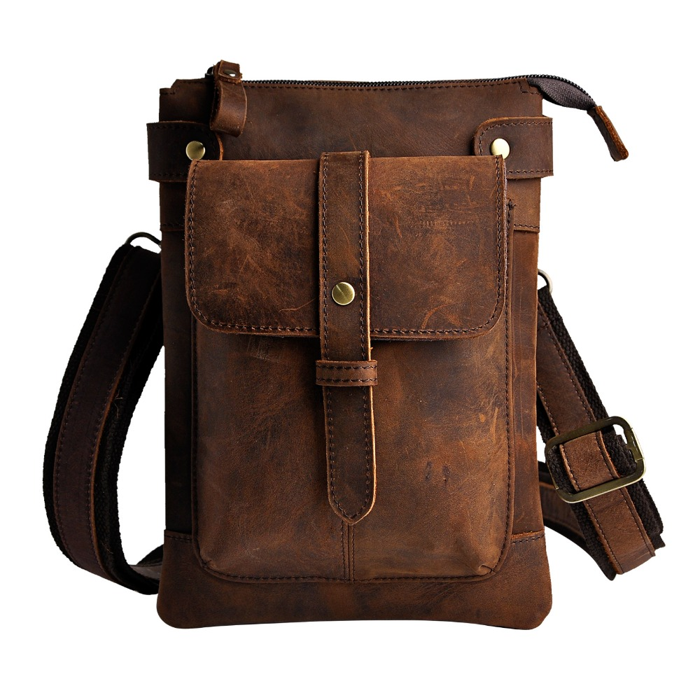 Leather Men Multifunction Designer Casual Crossbody Shoulder Messenger Bag Fashion Waist Belt Pack Bag Phone Tablets Case 8711