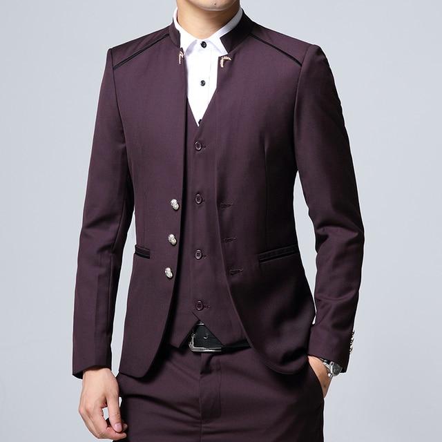 Men's Suit 3 Piece Set, Slim fit Men Suit Jackets + Pants + Vests, Wedding Banquet Male Blazer Coats Szie M-4XL 3