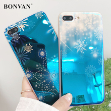 BONVAN For iPhone x Case Snowflake Patterned Soft Silicone For iPhone 7 6s 8 Plus 6 Plus Cover Blue Ray Light Glossy Snow Coque