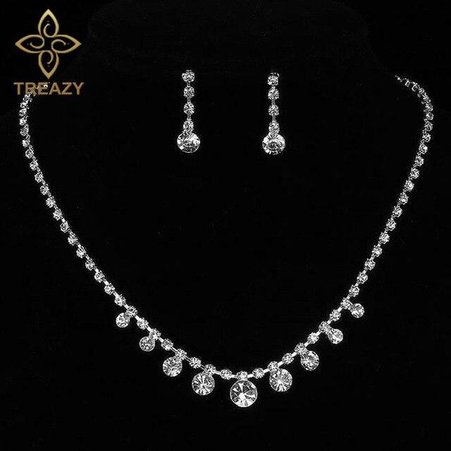 Treazy Women Elegant Crystal Drop Necklace Earrings Set Sparkling Silver Color Wedding Bridal Bridesmaid Jewelry Sets