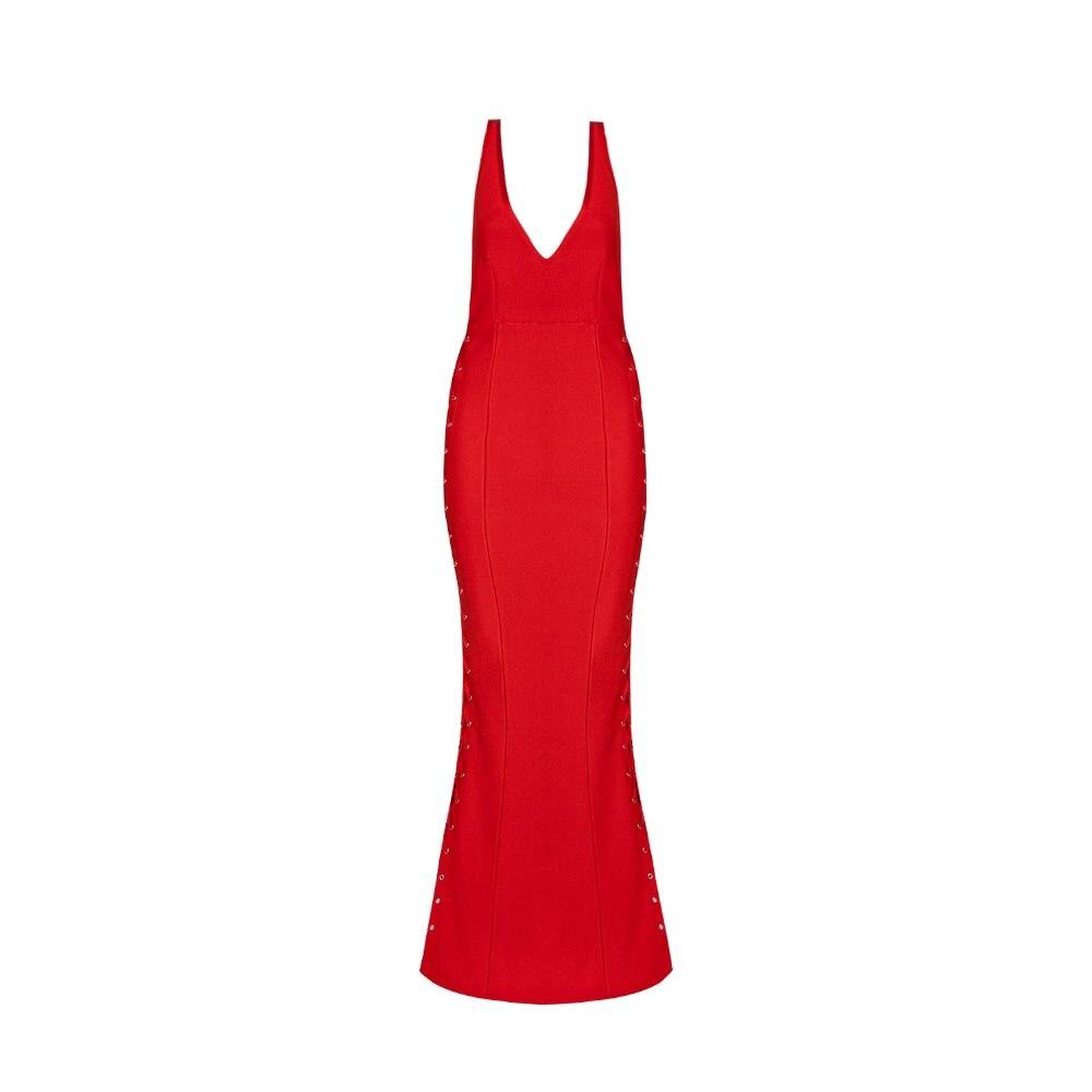 Faible rouge Partie Robes Noir Robe Bandage Bretelles Sexy Célébrité cou Bosom Soirée V De Longue Mode XA6PqZ