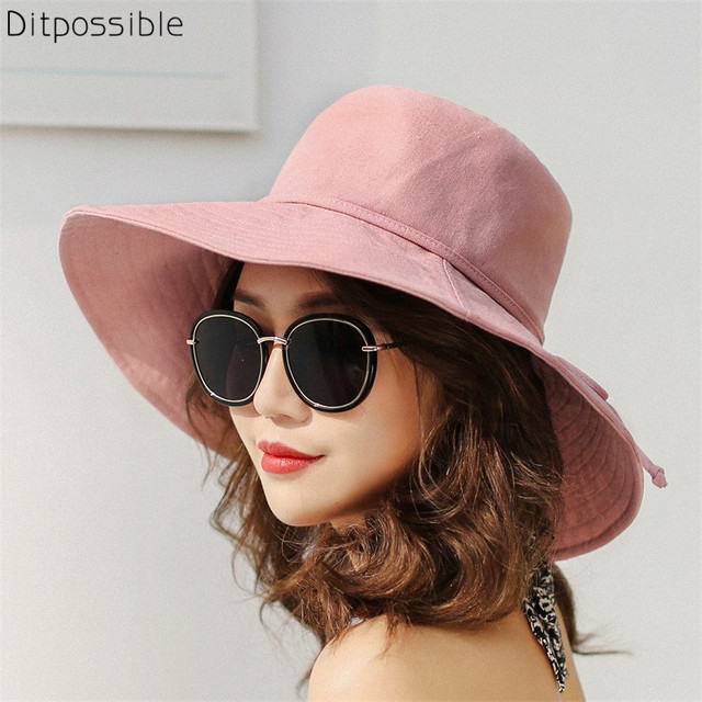 3a14360c0 Aliexpress.com : Buy Ditpossible wide brim flat bucket hats women fashion  fishing cap spring summer hat panama casual female caps from Reliable ...