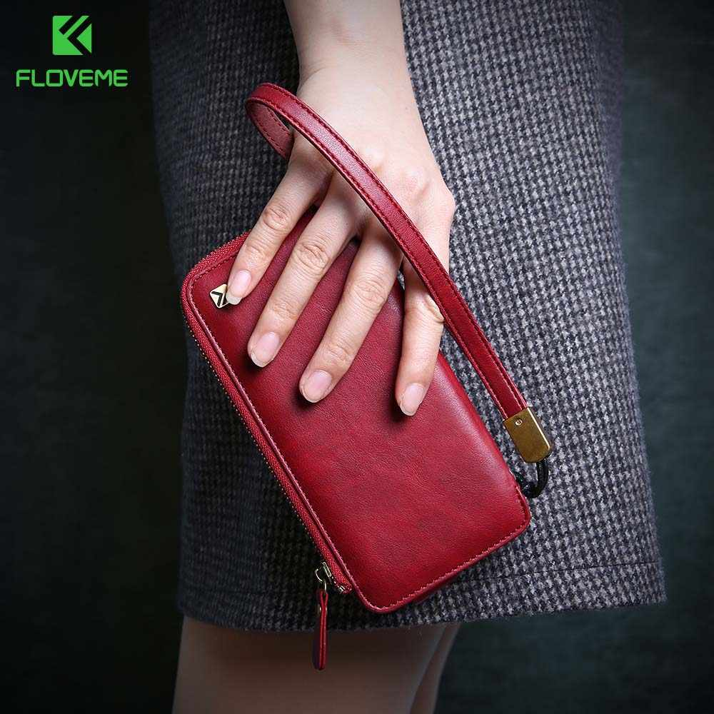 FLOVEME Multi-function Wallet Case For iPhone 6 6S 7 6 6S Plus 7 Plus PU Leather Zipper Pouch Handbag Case For iPhone 6 6S 7
