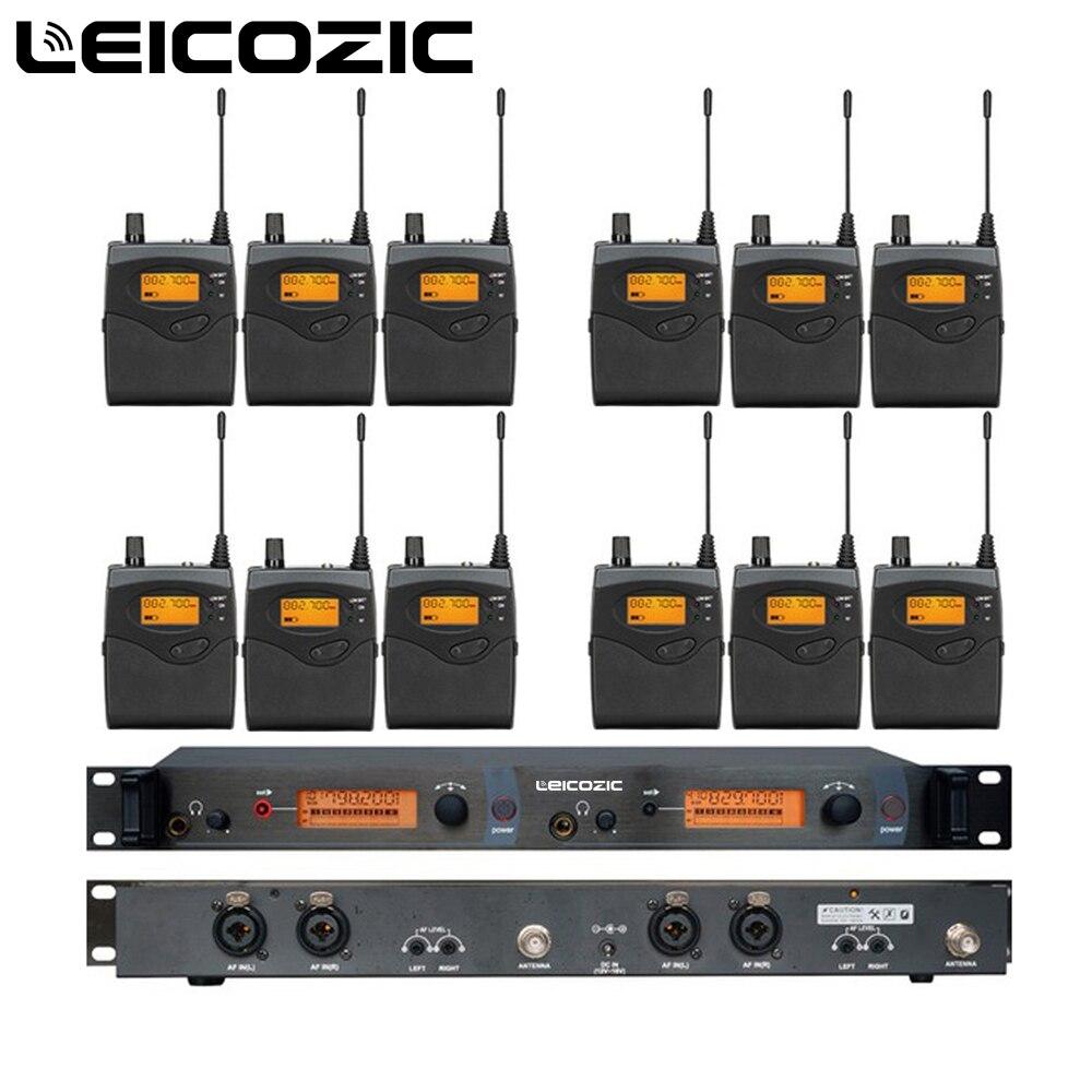 Leicozic 12 Приемники 1 передатчик sr2050 iem в ухо Беспроводной Мониторы системы UHF профессиональной сцене Беспроводной Мониторы новая система