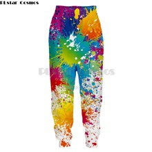 PLstar Cosmos 2019 New Colorful Paint Men Women Hipster 3D Casual Pants Rainbow Paint Splatter Printed Long Sweatpants 5XL