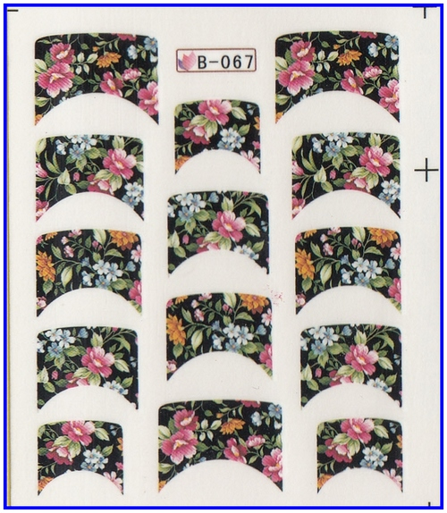 Nail Sticker FRENCH SMILE FLORAL LOTUS CALLA CLOVER Water Transfers Stickers Nail Decals B067-077