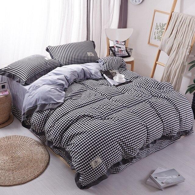 High Grade Velvet Bedding Set Super Warm Cotton Bed Set Lattice Duvet Cover Bed  Sheet Coral
