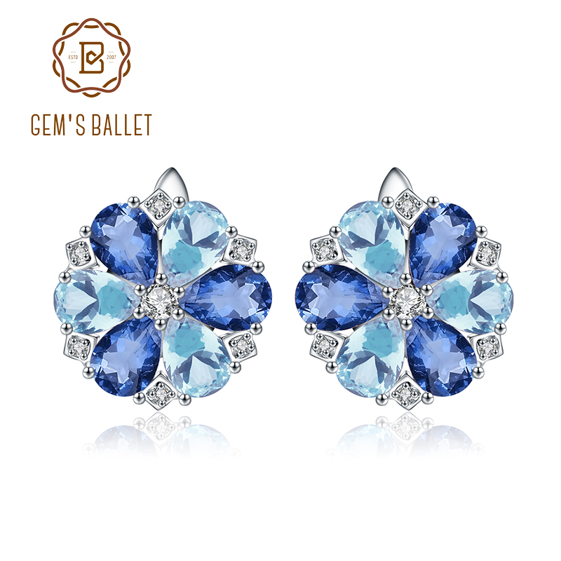 GEM S BALLET Natural Sky Blue Topaz Earrings 925 Sterling Silver Mystic Quartz Vintage Flower Stud