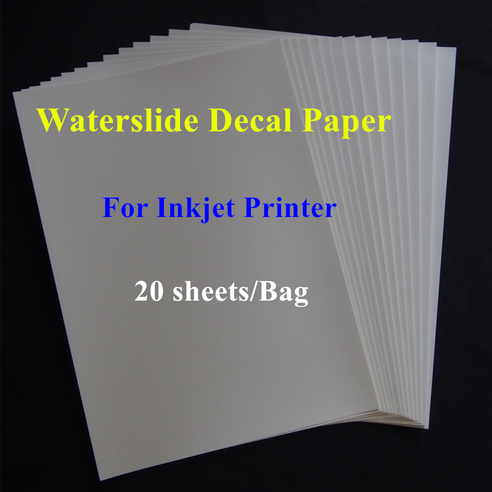 (20sheets/lot) A4 Size Inkjet Water Slide Decal Transfer Paper Clear Color Printing Paper Inkjet Waterslide Decal Paper Sticker