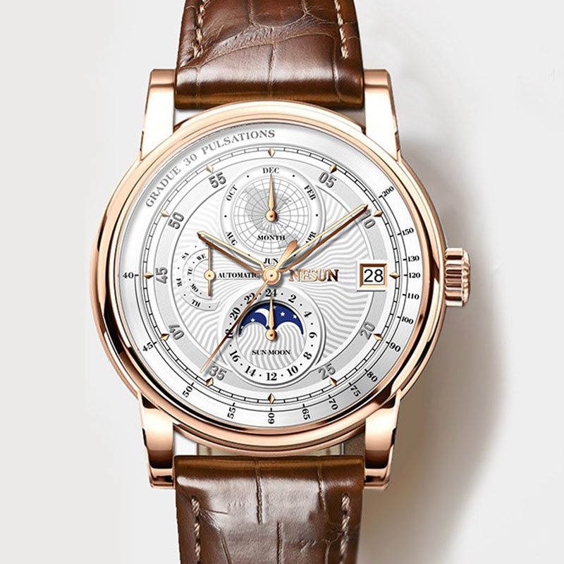 Homens Relógio Marca De Luxo suíça NESUN Fase Da Lua Auto Mecânica dos homens Wirstwatches N9022-3 Relogio Relógio de Couro de Safira