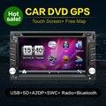 Dvd-плеер автомобиля 6.2 дюймов GPS Навигация 2din Универсальный Автомобиль Радио В Тире Стерео Bluetooth Видео Бесплатно Карта + Резервное Копирование камера