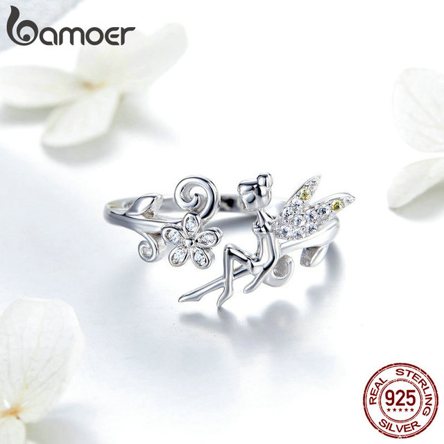 BAMOER GAR025 Silver Ring Fairy Wings Flowers Plant Ajustable Rings for Women 925 Sterling Silver Jewelry Girl Jewelry Gifts 1
