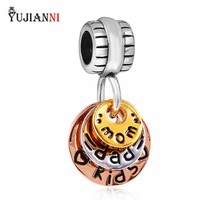925 Sterling Silver Happy Family Charm Mom Dad Kids Pendant 3 Colors Beads Fit European Brand