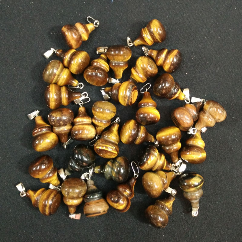 Image 2 - 2017 Fashion high quality natural tiger eye stone gourd charms pendants for DIY jewelry accessories 50pcs/lot  Wholesale free-in Pendants from Jewelry & Accessories