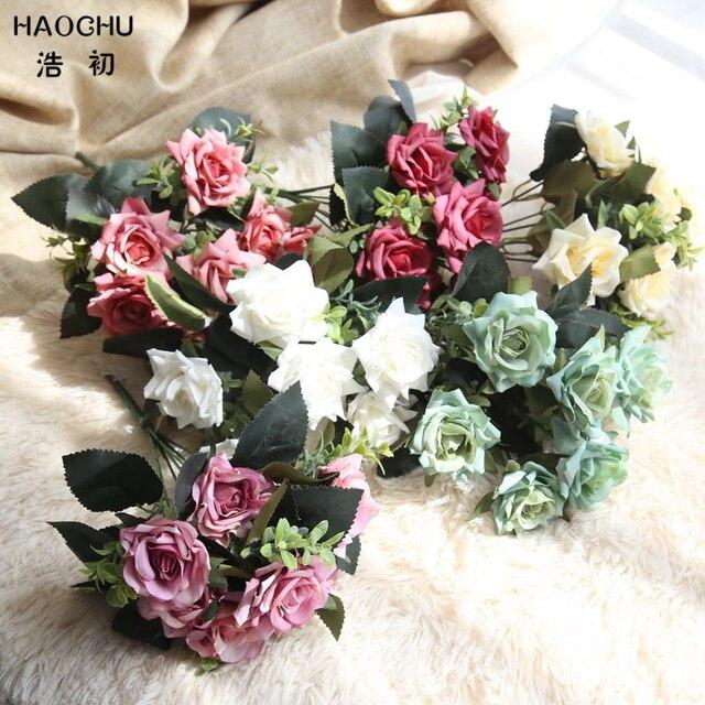 HAOCHU Romantic Rose Flowers Blue Wedding Bouquet Marriage Room ...
