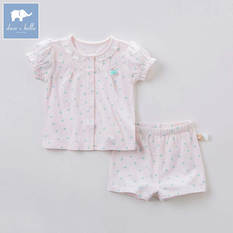DB7553 dave bella summer baby girls pink clothing sets children infant toddler suit kids high quality clothes
