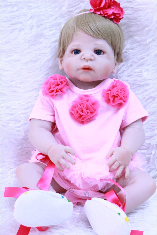 Blonde princesse Silicone complet Reborn bébé fille poupées lavé bricolage jouet réaliste nouveau-né dormir bébés bebe Reborn poupée en peluche ju
