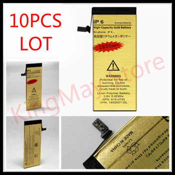 10pcs/lot High Capacity Golden For iphone6 Gold battery Zero-cycle High Quality replacement Battery for iPhone 6 Battery