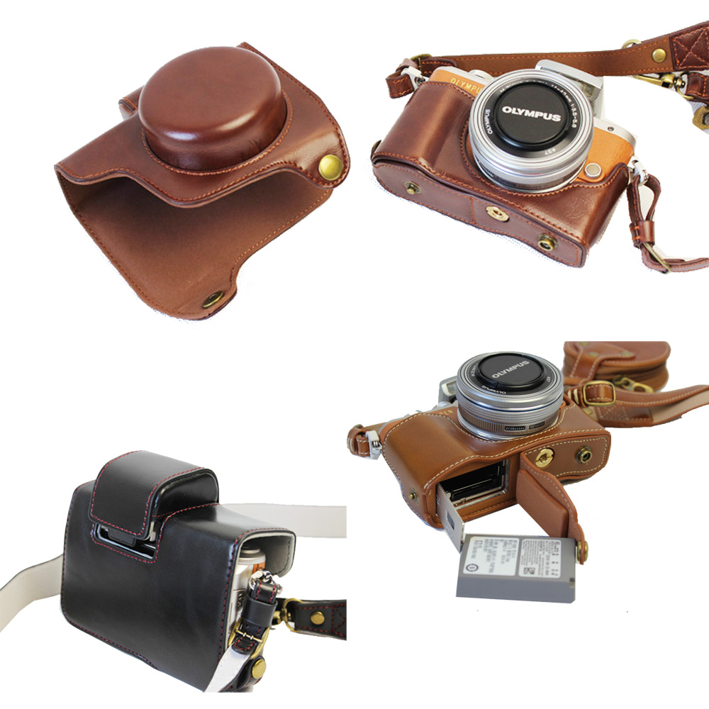 44ff0d4a2b New Luxury Pu Leather Video Camera Case For Olympus EPL8 E-PL8 14-42mm  Camera Bag Open Battery With strap Mini Pouch