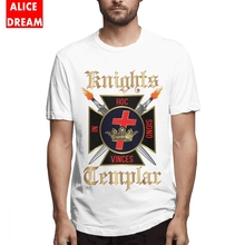 цена на Men's O-neck Knights Templar Tee Shirt Retro Tee Pure Cotton Big Size Homme Tee Shirt Hot sale Round Neck Tees
