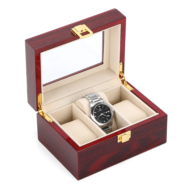Free Shipping 3 Grids Watch Display Box Red High Light MDF Watch Boxes Fashion Watch Storage Box Piano Paint Jewel Gift Box D019 2015 high quality black mdf mounted outside black pu leather 3 grid watch display box storage box free shipping ag442