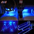 12 V 4 Led Car Interior Decoración Del Piso Lámpara de Las Luces de la Vía para Los Coches de Energía Toma del Encendedor Del Coche Azul Styling