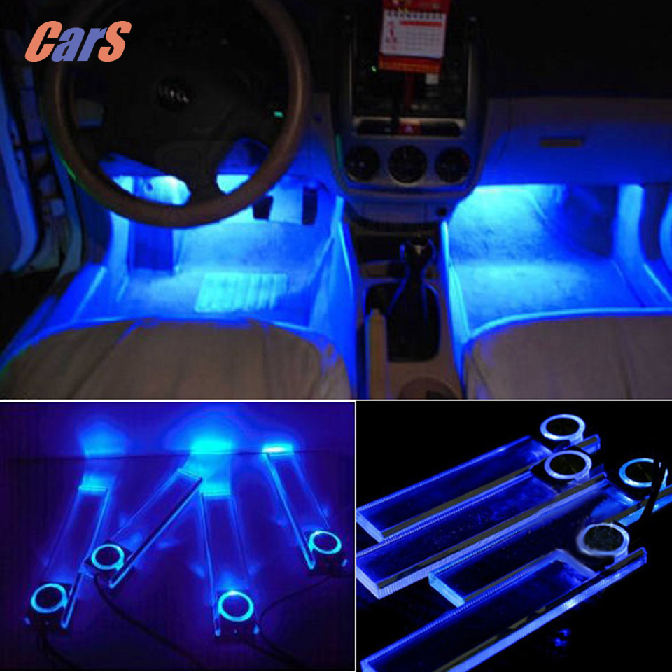 12v 4 leds car interior decoration floor pathway lights lamp for cars power by cigarette lighter. Black Bedroom Furniture Sets. Home Design Ideas