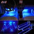 12V 4 LEDs Car Interior Decoration Floor Pathway Lights Lamp for Cars Power By Cigarette Lighter Socket Blue Car Styling