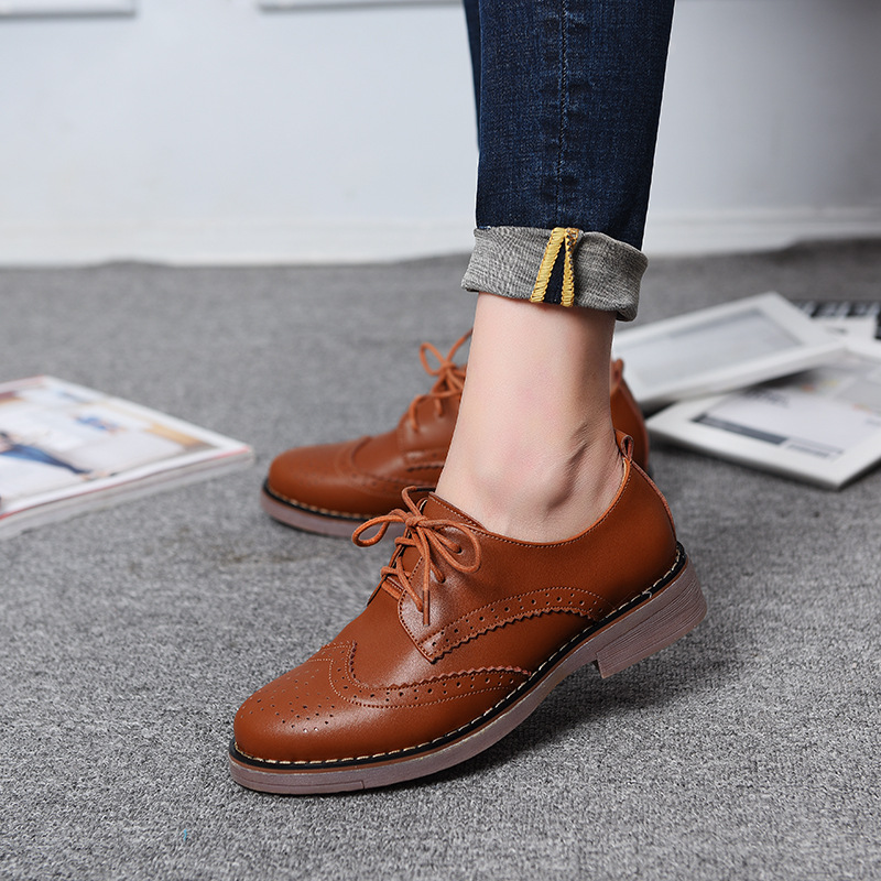US $23.14 46% OFF|Ariari Women British Style Oxford Shoes Vintage Genuine Leather Brogue Shoes Fashion Round Toe Lace Up Flats Moccasins Creepers in