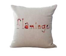 CV Cushion Cover only 100% New Cotton Linen Trend Flamingo Furnishing Cushion Pillow on sofa