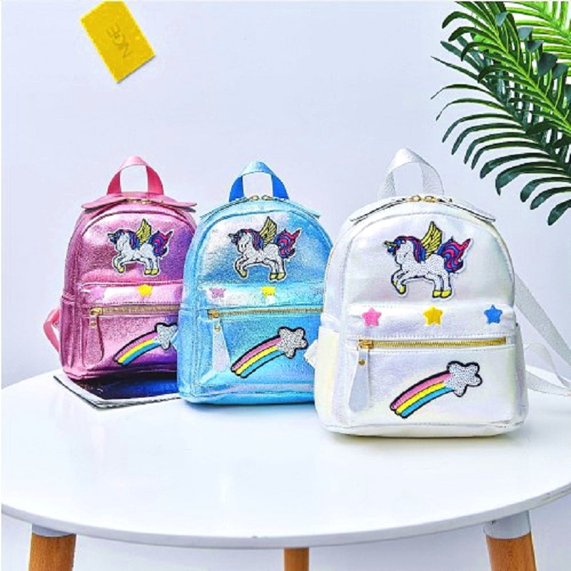 Female Mini Backpacks With Sequin Cute Pink Cartoon Unicorn Children Backpack School Kids Travel Mochila Pequena