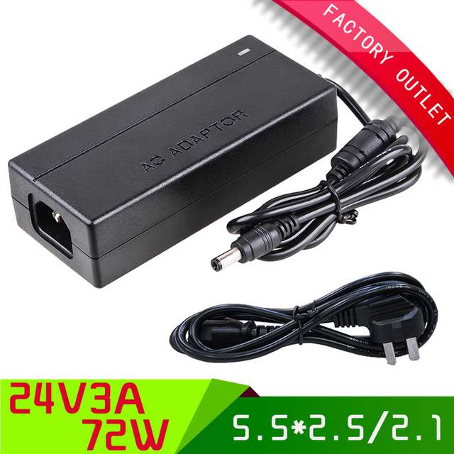 1 set Universal ac 100-250V dc 24V 3A switch power supply AU PLUG switching power adapter with 5.5*2.5/2.1 jack