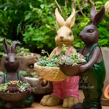 Creative resin cute rabbits figurine vintage home decor crafts decoration objects garden flowerpot animal statue