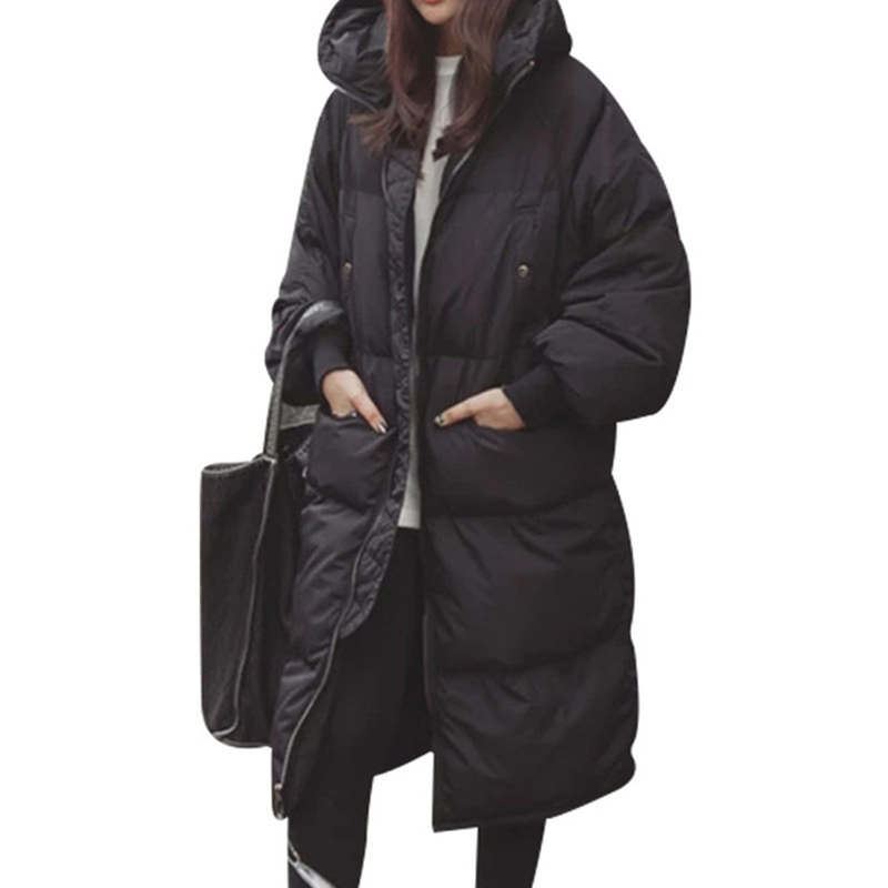 Oversized Coats Black Winter Jacket Women Plus Size 3XL Hoodies Warm Cotton Padded Jacket Women   Parka   Long Ladies Coats C4999