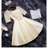 Short Bridesmaid Dresses 2017 New O Neck Ball Gown Lace And Satin Wedding Party Dress With