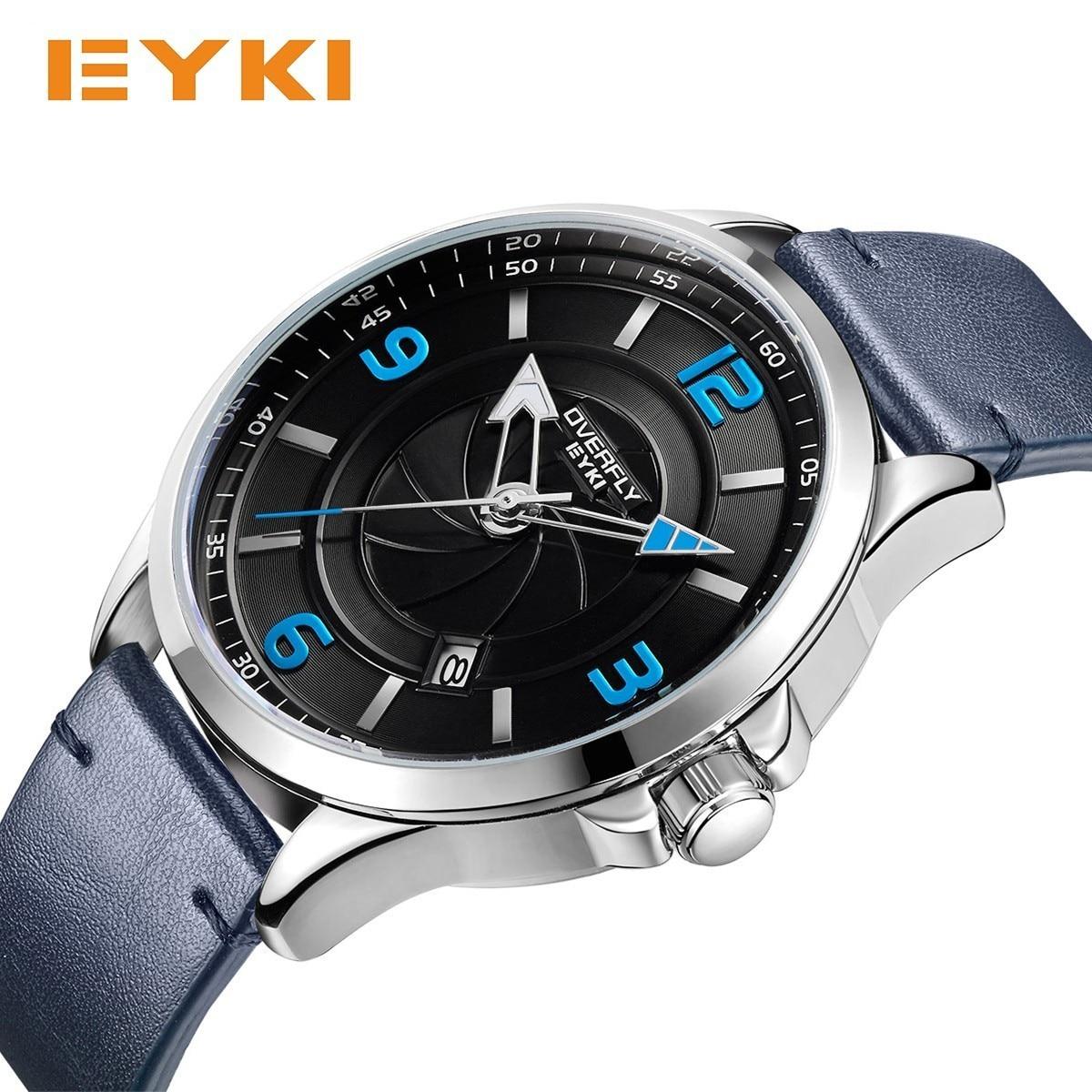 EYKI Mens Watches Blue Glass Camera Lens Dial Luminous Hands PU Leather Watch Strap Quartz Luxury Watch Men Fashion Brand Clock цены онлайн
