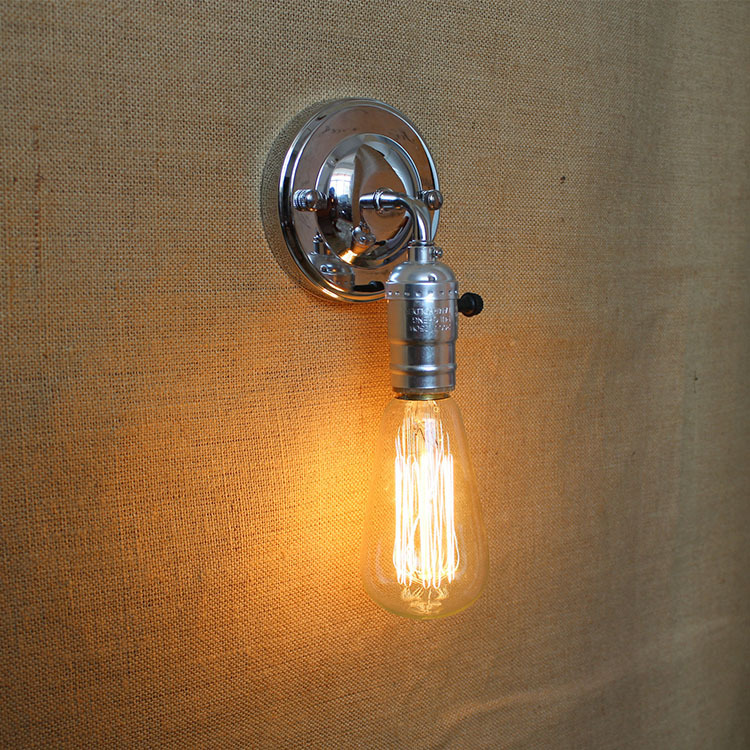 Pull Chain Modern Vintage Loft Adjule E27 Chrome Metal Wall Light Retro Br Lamp Country Style Sconce Fixtures In Lamps From Lights
