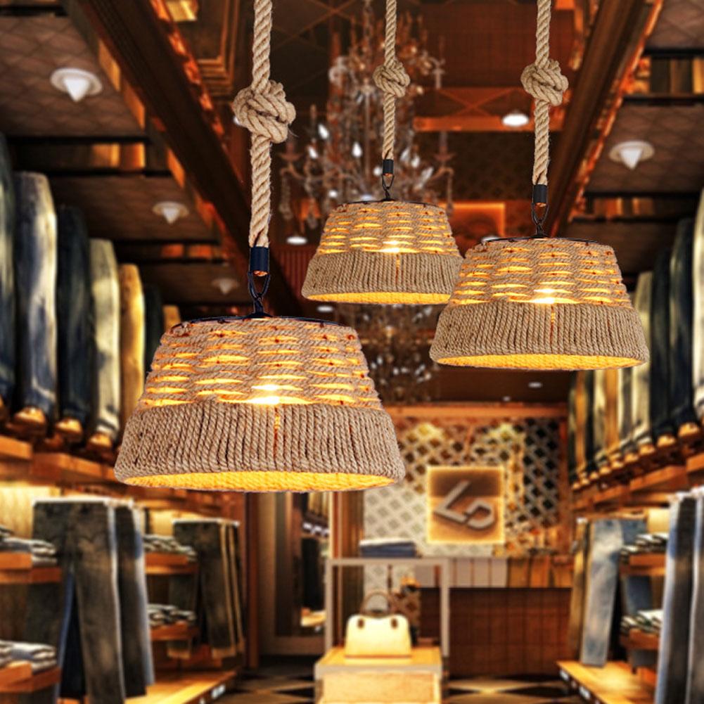 A013 Retro Hemp Rope Wrought Iron Pendant Lamp American Pastoral Bar Cafe Restaurant pendant light indoor deco Lighting art lamp