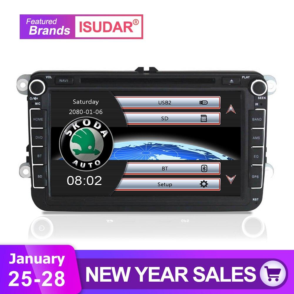 Isudar Автомагнитола с Сенсорным 8 Дюймовым Экраном Для Автомобилей Skoda/VW/Volkswagen/TIGUAN/MAGOTAN/Golf/CADDY/SEAT Wifi FM AM