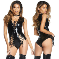 Black Lace Up Wetlook PVC Latex Bodysuit Lingerie Faux Leather Catsuit Underwear Erotic Fetish Vinyl Body Suit Lingerie Teddies